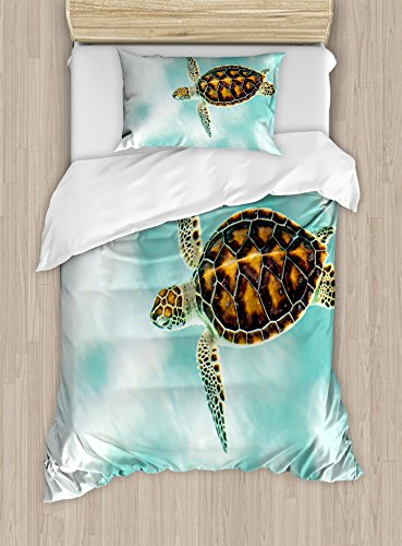 Ambesonne Turtle Duvet Cover Set Twin Size by, Cute Baby Turtle Swimming in Abstract Waters Serene Nature Picture, Decorative 2 Piece Bedding Set with 1 Pillow Sham, Seafoam Brown Pale Coffee (State Twin Headboard)
