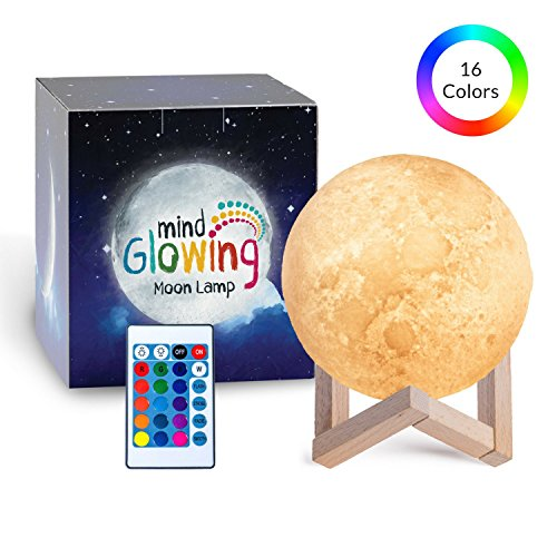 Mind-glowing 3D Moon Lamp - 16 LED Colors, Dimmable, Rechargeable Lunar Night Light (Large, 5.9in) Full Set with Wooden Stand, Remote & Touch Control - Cool Nursery Decor for your (Wooden Nursery Lamp)