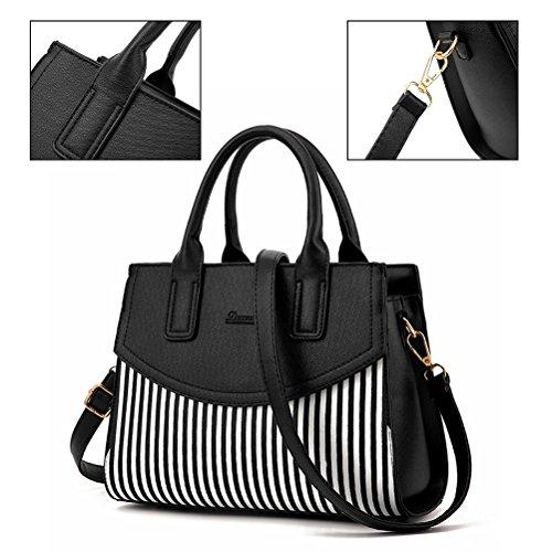 Damen Streifen Top-Griff Taschen,Yimoji Frauen PU leder Umhängetasche Tote Handtaschen (Weiß)