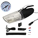 THREE EYES Car Vacuum Cleaner With Tire Inflator and LED Light High Power Car Vacuum with Strong Suction Multi-function Handheld Car Interior Vacuum for Wet and Dry Use 12V 120W (Black)
