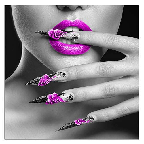 Biuteawal - Modern Canvas Prints Wall Art Fashion Woman with Purple Lips and Nails Pictures Elegant Makeup and Manicure Poster for Spa Bathroom Beauty Salon Wall Decoration Framed Ready to -