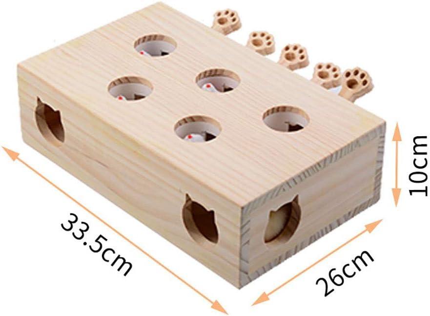 Mascota del Juego del Gato Juguetes interactivos de Madera Whack a Mole Juego del ratón del Gato Gatito Catch Sólido El Ratón Puzzle Box for Jugar Caza Ejercicio