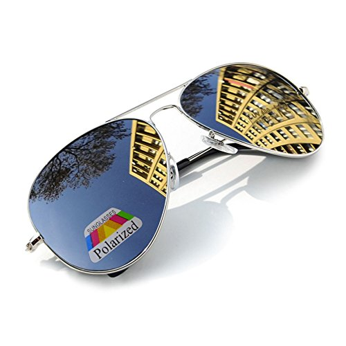 Polarisiert Sonnenbrille für Jungen, Mädchen, Kinder, Metall, Pilotenbrille, silberfarbene spiegelnde Gläser, Unisex (Silver)