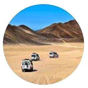 alfombrilla de ratón Paisaje del desierto del Sahara con jeeps de safari. - ronda - 20cm