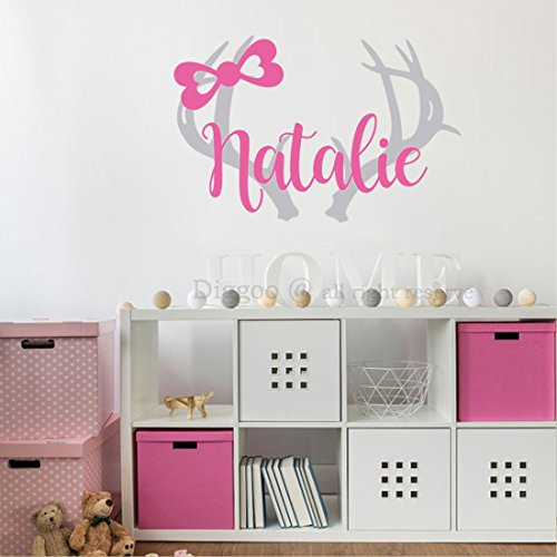 Personalized Deer Antlers Name Decal For Girl Boho Nursery Decor - Baby Girls Name Vinyl Wall Decal (20