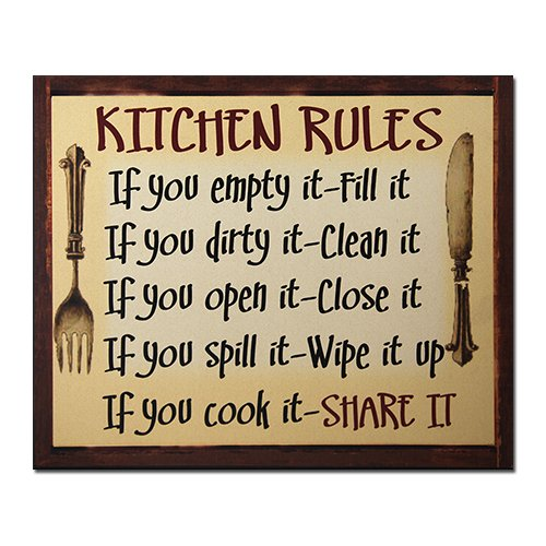"Office Products : African American Expressions Kitchen Rules Wall Plaque, 10"" x 12"" x 0.7"", Beige/Red/Black, 12 Piece"