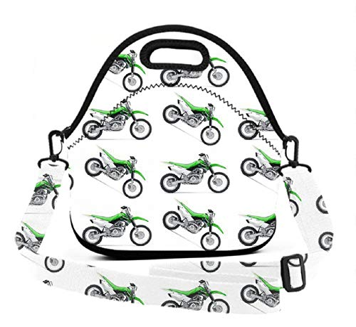 Neoprene Lunch Tote - Green Dirt Bike Colorful - Reusable Insulated Thermal Lunch Bag Waterproof Lunch Box Carry Case Handbags with Zipper for School/Office/Travel/Gym