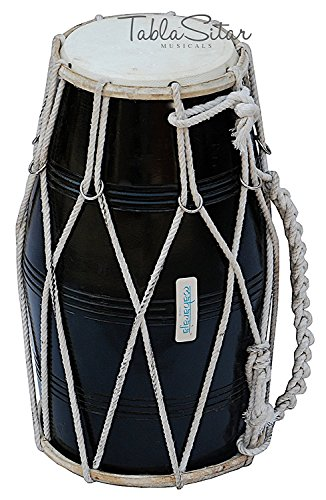 Dholak Drum Black, Mango Wood, Rope-tuned, Padded Bag, Spanner, Dholki Musical Instrument by SAI MUSICAL