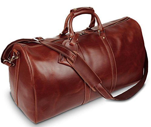 Luxury Travel Bag - BAIGIO Men's luxury Leather Weekend Bag Vintage Travel Duffel 23 Inch Oversize Tote Overnight Duffle Luggage (Brown)