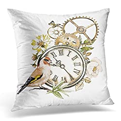 Duplins Steam Punk Watercolor Roses Clock Clockwork Feathers Jewelry Bird Flowers Tattoo Style White Vintage Decorative Pillow Cover 16x16 Inches Throw Pillow Case Square Home Decor Pillowcase