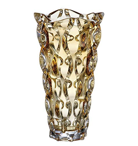 Decorative Crystal Glass Amber Flower VASE, Perfect Christmas OR Wedding Gift, TRADITIONALLY Hand-Made European Design, 12