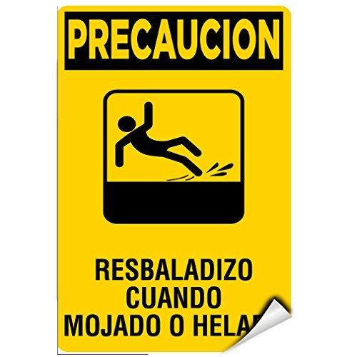 (WenNuNa Wall Sticker Precaucion Resbaladizo Cuando Mojado O Helado Hazard Sign Wall Decal Sticker 9x12 Inches)