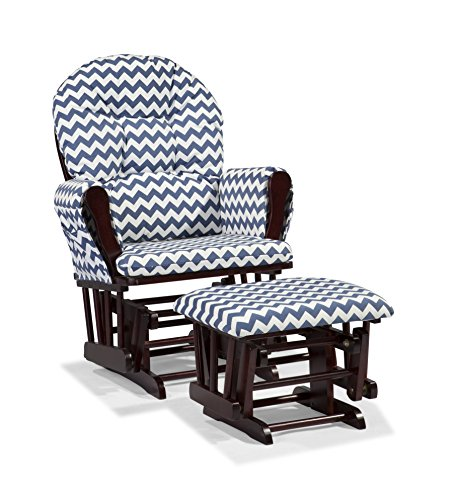 Stork Craft Custom Hoop Glider and Ottoman, Cherry/Navy Chevron Cherry Fabric Ottoman