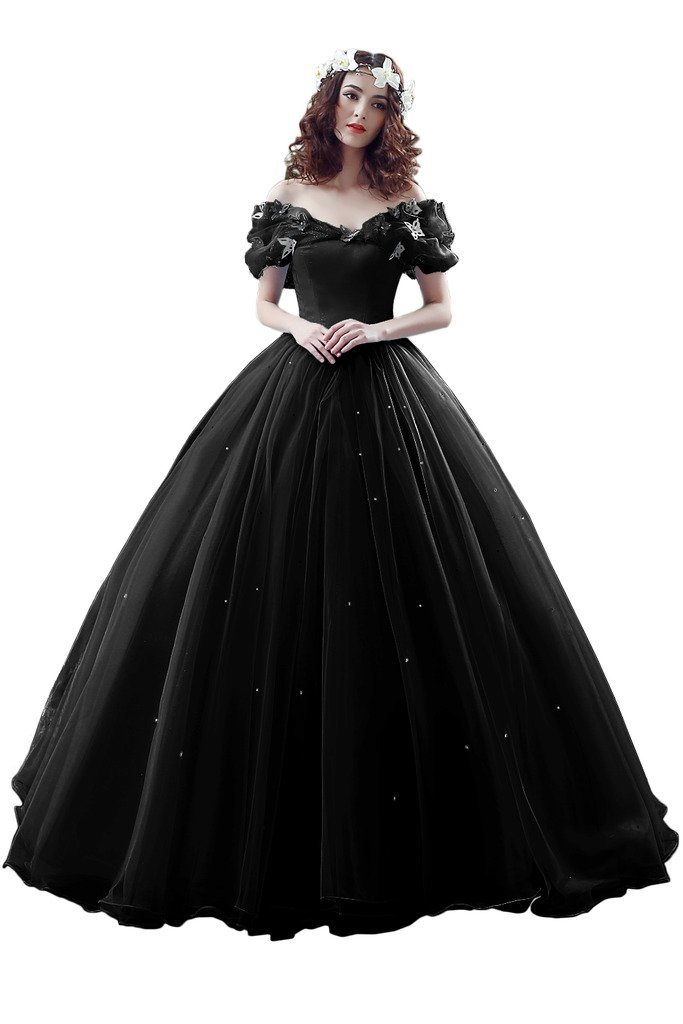 Avril Dress Cinderella Butterfly Ball Wedding Prom Quinceanera Gown for Girls-16-Black by Avril Dress (Image #1)