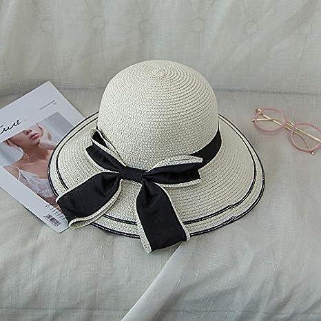 plegable protecci/ón UV Lanly Sombrero de paja para mujer sombrero de verano sombrero de playa sombrero de pescador ancho