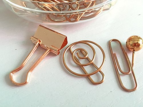 65 PCS Decorative Paper Clips and Set,Multi-Kind Push-Pin Map Tacks Long Tail Clip Paper Clip Pin Clip for School,Home & Office (Rose Gold) Photo #3