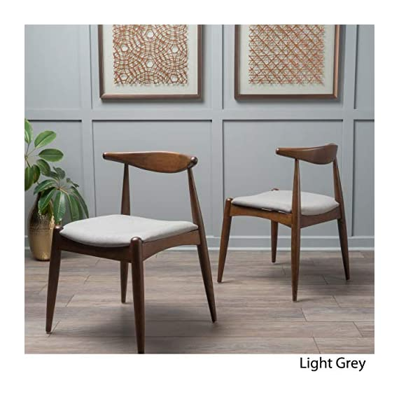 Christopher Knight Home Francie Fabric with Walnut Finish Dining Chairs, 2-Pcs Set, Dark Beige / Walnut - Includes: Two (2) Dining Chairs; Dimensions: 21.25 inches deep x 21.45 inches wide x 29.52 inches high Seat Width: 18.25 inches Seat Depth: 18.00 inches Seat Height: 17.75 inches Fabric Composition: 100% Polyester - kitchen-dining-room-furniture, kitchen-dining-room, kitchen-dining-room-chairs - 51pjEu1v3DL. SS570  -