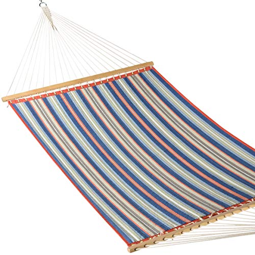 Caribbean Hammocks - Quilted Hammock (Red & Blue Stripe) (Fabric Hammock Large Quilted)