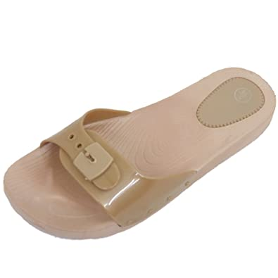 d6205a2bf50d86 Ladies Gold Mules Flat Slip-On Jelly Flip-Flop Beach Comfy Sandal Shoes Size  3-8  Amazon.co.uk  Shoes   Bags