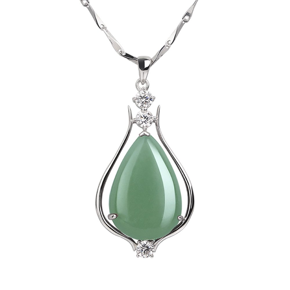 iSTONE Fine Jewelry Natural Gemstone Green Jade 925 Sterling Silver Water Drop Pendant Necklace