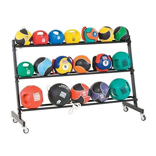 Power Systems 3-Tier, Rolling Medicine Ball Rack for 15-21 Balls, 58 x 20.5 x 38 Inches, Gray (27189)