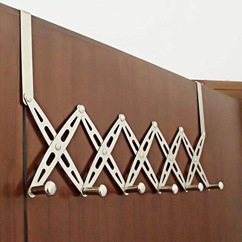 304 Stainless Steel Telescopic Over The Door Hook Organizer Rack Hanging Towel Rack Over Door, 6 Hooks 1 Pack by KKhouse (Image #2)