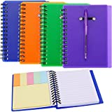 SATINIOR Set of 4 Spiral Notebook Steno Notebook Pocket Lined Notepad with Pen in Holder and Sticky Notes Index Tabs Page Marker for School and Office, Assorted Colors