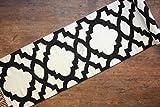 Hotweave Hand-woven & Hand-made 2'8'' x 13'4'' / 80x400 cm Black & White Quatrefoil Pattern Pure Wool Extra Long Hallway Runner Rug/Carpet, Style: 0566