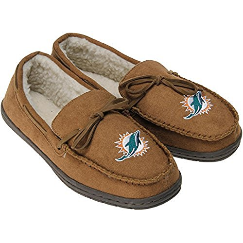 Football Mens Team Logo Moccasin Slippers Shoe - Pick Team (Miami Dolphins, Large)