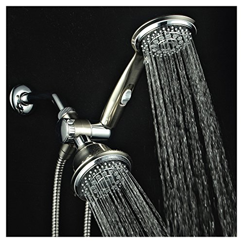 HotelSpa Designer Collection Ultra-Luxury 2 Tone 30-Setting Shower-Head/Handheld Shower Combo by Top Brand Manufacturer (Chrome/Brushed Nickel Finish) - Brushed Nickel Shower Heads