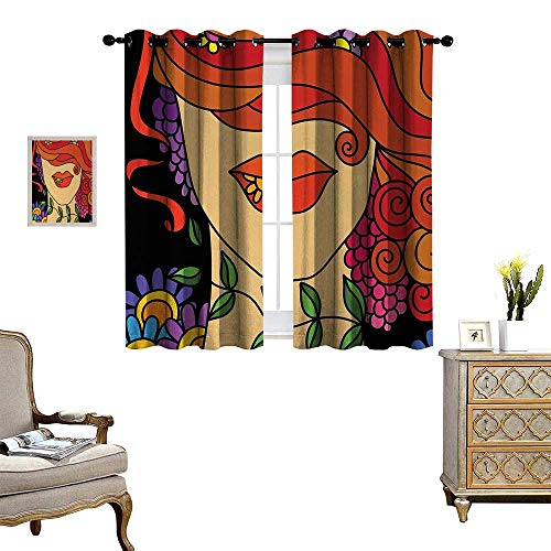 Anyangeight Contemporary Room Darkening Wide Curtains Surrealistic Abstract Portrait of a Woman with Swirly Hair Flowers and Leaves Customized Curtains W72 x L45 Multicolor