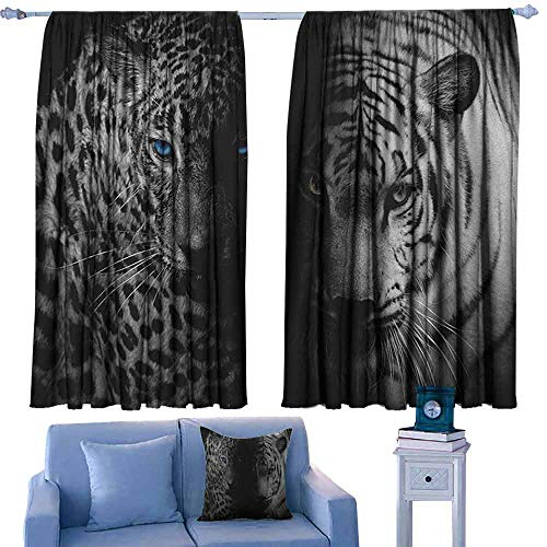 (ParadiseDecor Black and White Boys Bedroom Backout Curtains Leopards with Blue Eyes Aggressive Powerful Wildcat Profile Print,Printed Kids Nursery Curtain,W72 x L63 Inch)