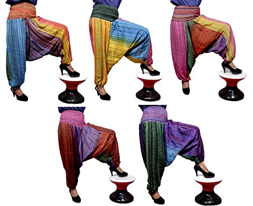 5Pcs-25pcs Hippie Striped Design Harem Pants Trouser Wholesale Lot (Multi-25pcs) by Krishna Mart India