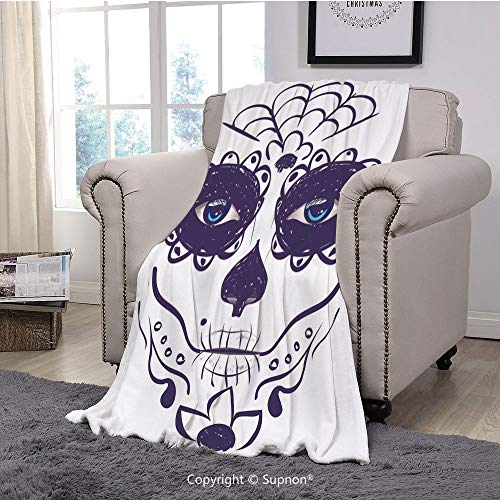 Premium Throw Blanket/Super Soft,Cozy,Lightweight Microfiber,Day of The Dead Decor,Dia de Los Muertos Sugar Skull Girl Face with Mask Make up,Black White and Blue(71