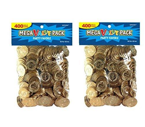 - Amscan 400 Count Novelty Plastic Gold Coins - 2 Pack Bundle (800 Coins Total)