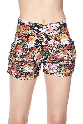 (Premium Ultra Soft and Comfy Yummy Popular Print Harem Shorts with Pocket (Large/X-Large (12-18), Tiger Flower Print))