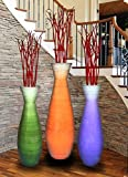 Uniquewise QI003242.3 Tall Bamboo Floor Vases in Three Colors (Set of 3), 3 Piece