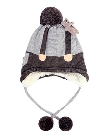 Bonnet Écharpe Cape Cagoule Unisexe Bébé Enfant Garçon Fille Mignon Chaud  Tricoté Chapeau Protection Gris Taille 8e263fa78e6