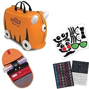 Melissa & Doug Orange Trunki Ride On Luggage with Matching Saddlebag and Sticker Sets