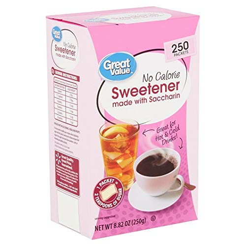 Great Value No Calorie Sweetener with Saccharin, 250 Count (6 Pack) by Great Value