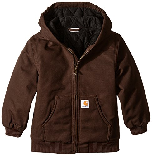 Washed Duck Flannel Dungaree Lined (Carhartt Little Boys' Active Duck Jacket, Mustang Brown, XX-Small-4/5)