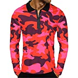 Men's Blouse-Clearance Sale!Farjing Men Casual Zipper Camouflage Long Sleeve Pullover Classic Shirt Top Blouse(M,Red)
