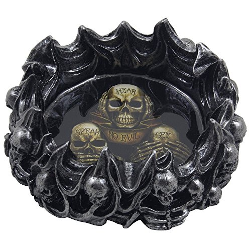 No Evil Skeleton Skulls Ashtray in Metallic Look for Scary Halloween Decorations and Spooky Gothic Smoking Room or Bar Decor As Gifts for (Halloween Outside)