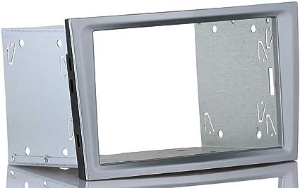 Einbauset Passend Für Opel Astra H Corsa D Doppel 2 Din Radioblende Matt Chrome Silber Einbaurahmen Elektronik