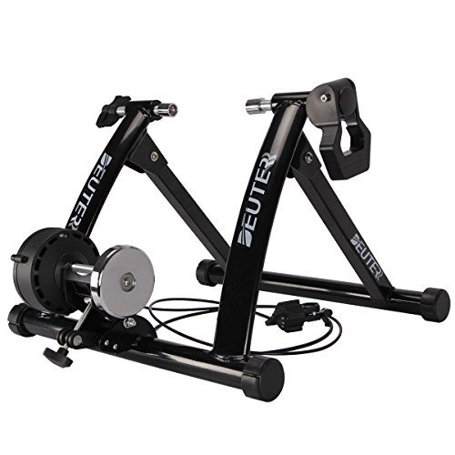 (Deuter Bike Trainer Stationary Magnetic Exercise Bicycle Stand for Indoor Riding Portable with Noise Reduction Technology)