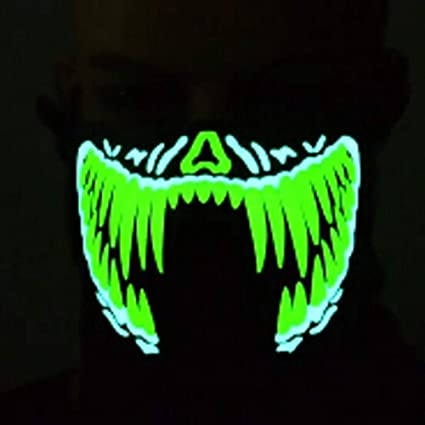 certainPL Luminous Led Mask - Music Sound Control Mask - Festivals Party Halloween Carnivals Masquerades Cosplay