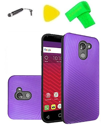 (Embossed Lines Hard Plastic PC TPU Hybrid Cover Case + Extreme Band + Stylus Pen + Pry Tool For Alcatel REVVL 5049W / Walters / A30 Plus 5049S (Embossed Line Purple))