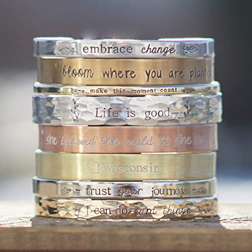 Personalized Cuff Bracelet in Silver, Bronze, Nickel, Gold, or Copper, 5-8
