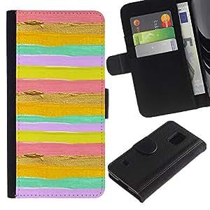 Be Good Phone Accessory // Caso del tirón Billetera de Cuero Titular de la tarjeta Carcasa Funda de Protección para Samsung Galaxy S5 V SM-G900 // Lines Stripes Horizontal Bright Pink