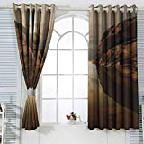 zojihouse NatureSunrise Over Secluded Rocks in Calm Lake Beaming Sun Reflections on Water Cloudy Sky Sliding Door Curtain Energy Efficient Thermal Insulated W63xL71 Multicolor